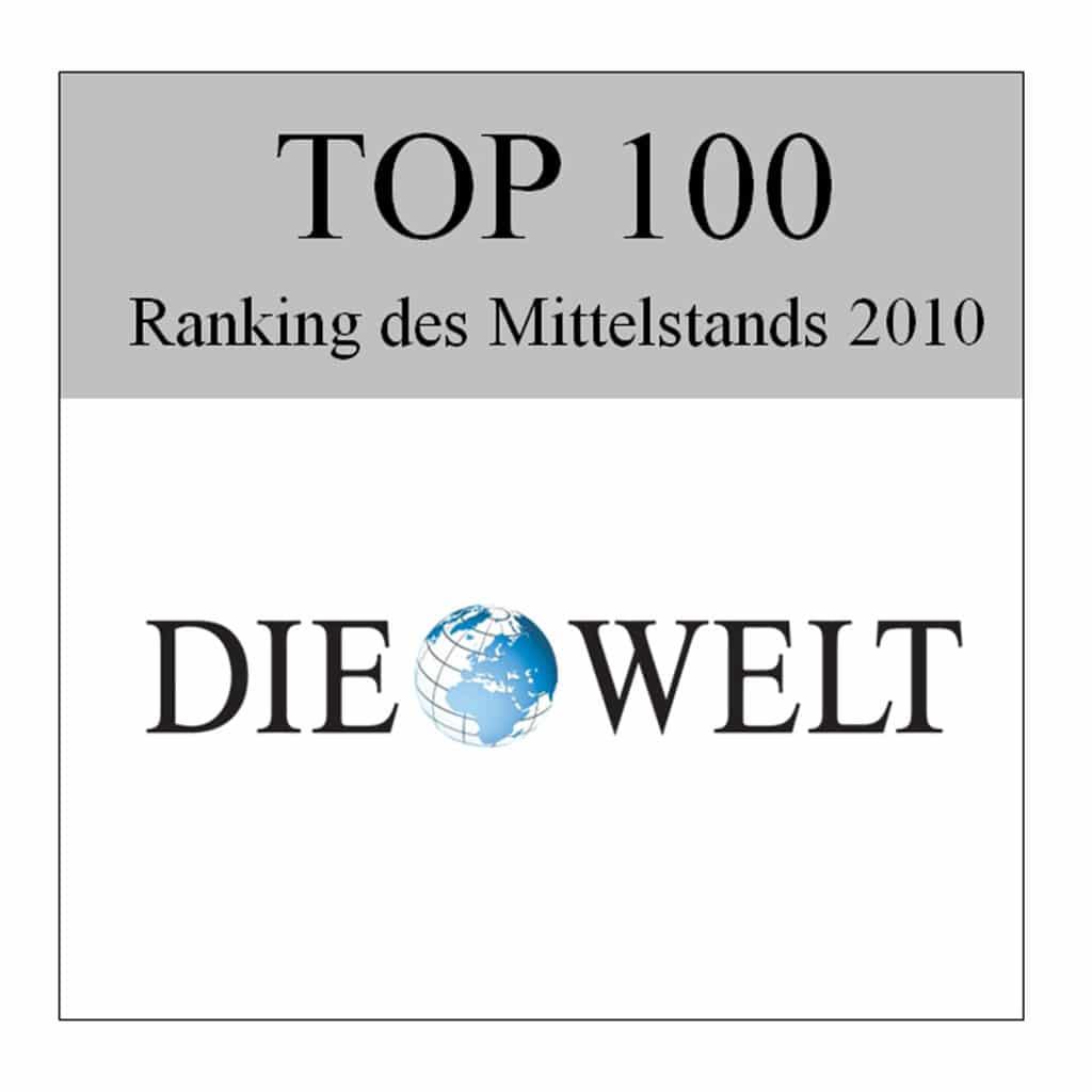 """Ocenění """"Die Welt Top 100"""" pro společnost Schwank GmbH."""